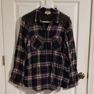 Express Flannel with Faux Leather Sequins